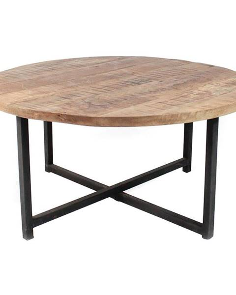 LABEL51 Čierny konferenčný stolík s doskou z mangového dreva LABEL51 Dex,⌀80 cm