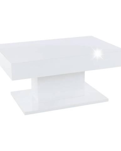 Konferenčný stôl s úložným priestorom biela vysoký lesk DIKARO poškodený tovar