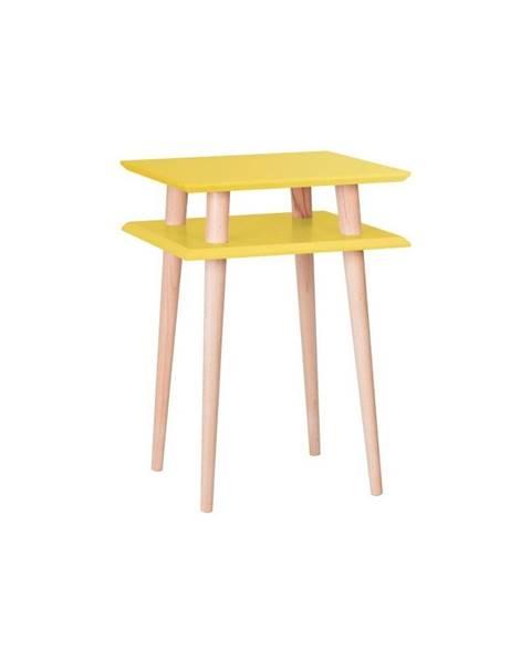Ragaba Žltý odkladací stolík Ragaba Square, 43×43cm
