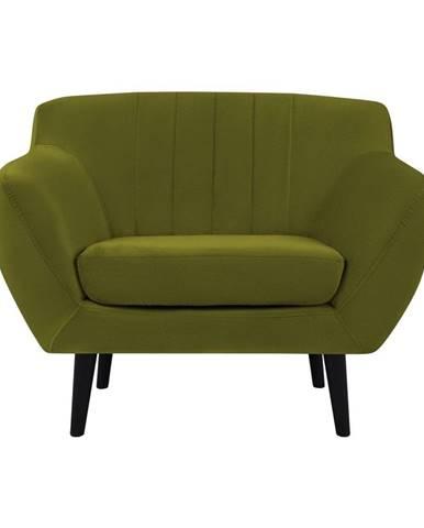 Zelené zamatové kreslo Mazzini Sofas Toscane