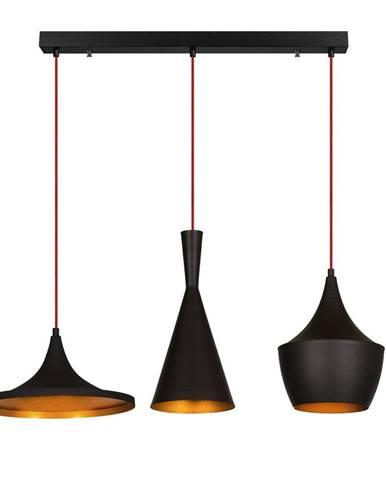 Čierne závesné svietidlo pre 3 žiarovky Opviq lights Elmas Line