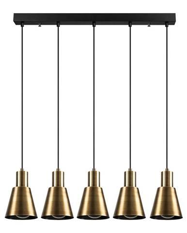 Závesné svietidlo pre 5 žiaroviek v zlatej farbe Opviq lights Kem Tube