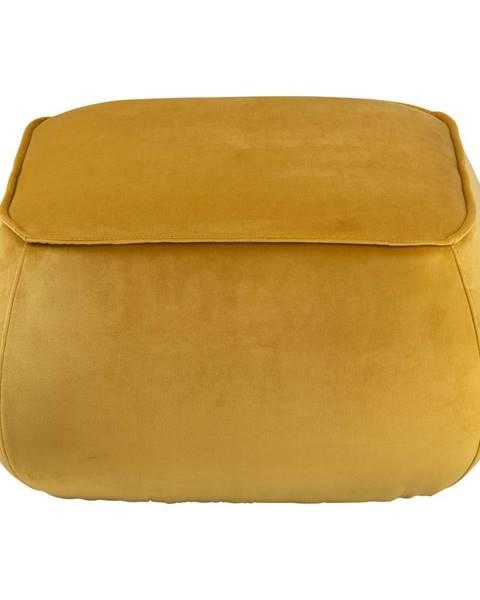 Actona Žltý zamatový puf Actona Mie, 60 x 60 cm