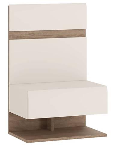 Nočný stolík biela extra vysoký lesk HG/dub sonoma tmavý truflový LYNATET TYP 95