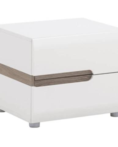 Nočný stolík biela extra vysoký lesk HG/dub sonoma tmavý truflový LYNATET TYP 96