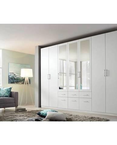 Šatníková skriňa BAYLEE alpská biela, 7-dverová s 3 zrkadlami