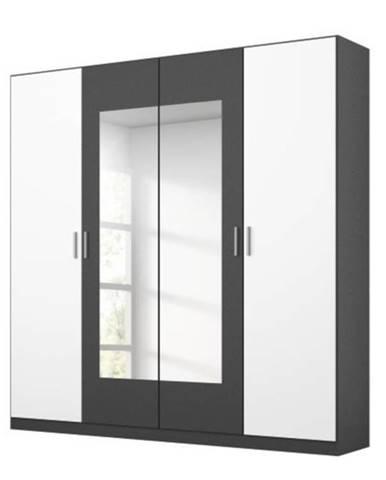 Šatníková skriňa BROOKE alpská biela/sivá, šírka 181 cm