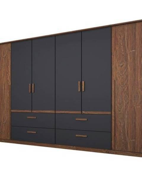 Sconto Šatníková skriňa GABRIELLE dub stirling/sivá, 6 dverí, 4 zásuvky