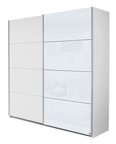 Šatníková skriňa VIOLET biela/biele sklo