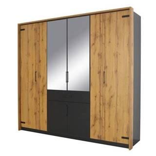 Šatníková skriňa ADDISON dub wotan/sivá, 8 dverí, 2 zrkadlá, 1 zásuvka.
