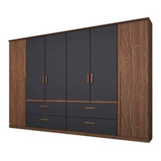 Šatníková skriňa GABRIELLE dub stirling/sivá, 6 dverí, 4 zásuvky