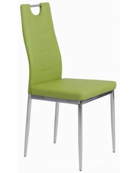 ASKO - NÁBYTOK Jedálenská stolička Melania, zelená ekokoža%