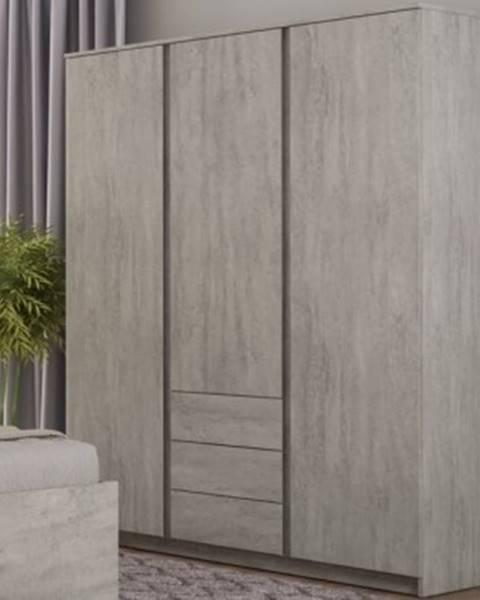 ASKO - NÁBYTOK Šatníková skriňa Carlos, šedý beton, 152 cm%