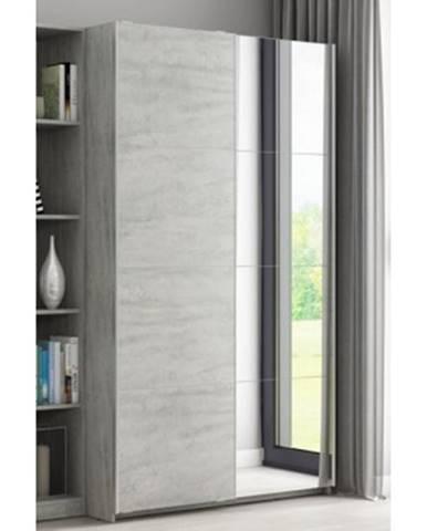 Šatníková skriňa Carlos, šedý betón, 125 cm, posuvné dvere%
