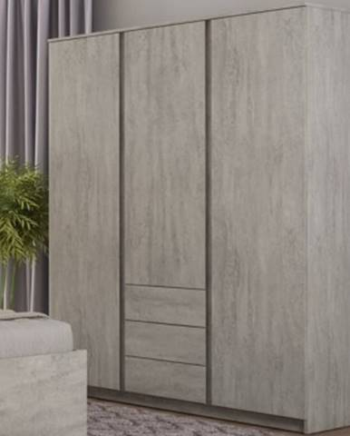 Šatníková skriňa Carlos, šedý beton, 152 cm%