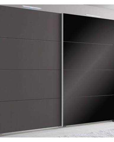 Šatníková skriňa Easy Plus, 225 cm, grafit/čierne sklo%