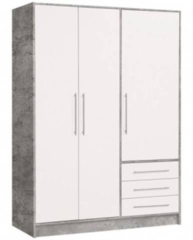 Šatníková skriňa Jupiter, 145cm,sivý betón / biela%