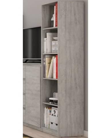 Úzký regál Carlos, šedý beton, 40 cm%
