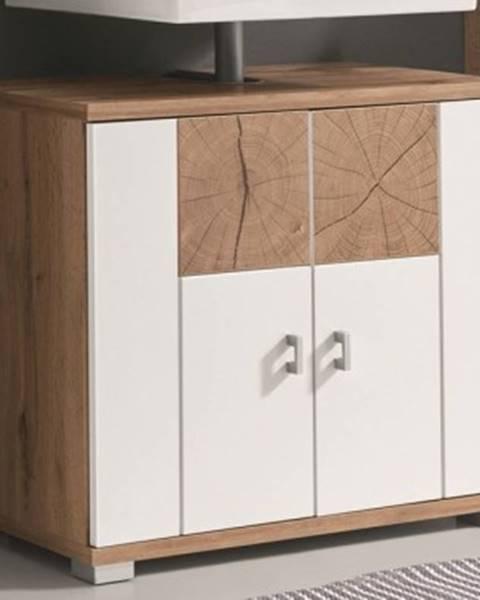 ASKO - NÁBYTOK Kúpeľňová skrinka pod umývadlo Spalt, divoký dub wotan/biela%