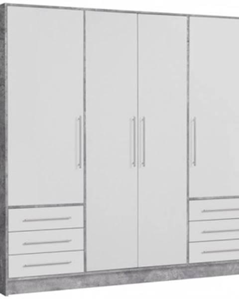 ASKO - NÁBYTOK Šatníková skriňa Jupiter, 207 cm, sivý betón/biela%