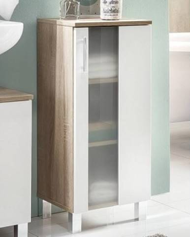 Kúpeľňová bočná skrinka Porto, dub sonoma/biela%