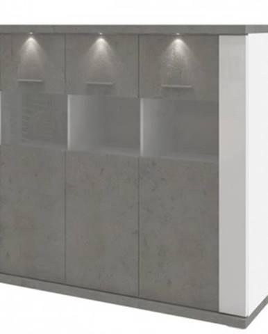 Vysoká komoda Caracas typ 22, betón/biely lesk, s osvetlením%