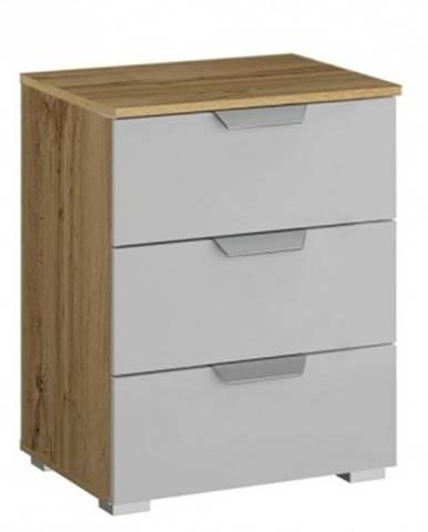 Vyšší nočný stolík Adition, dub wotan/šedý vysoký lesk%