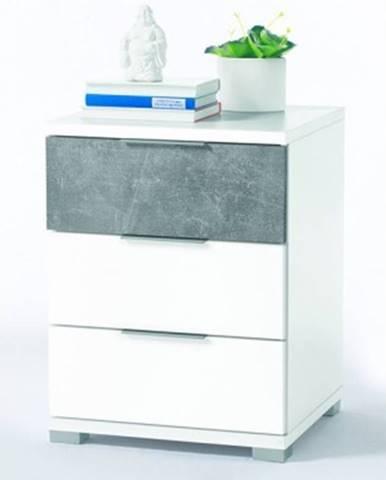 Vyšší nočný stolík Anton, biela/beton%