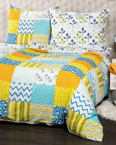 4Home Krepové obliečky Patchwork blue, 160 x 200 cm, 70 x 80 cm