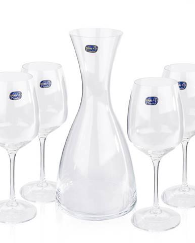 Bohemia Crystal Poháre na víno 4 ks  s karafou Giselle, 1200 ml