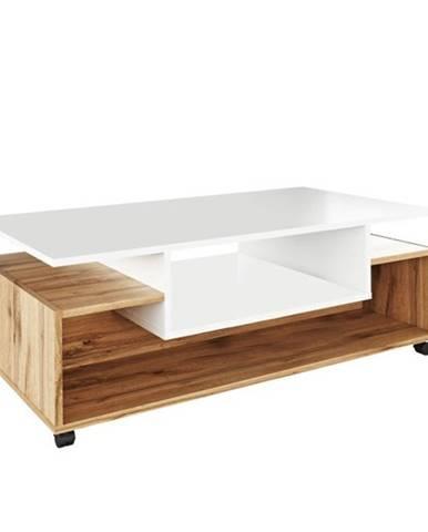 Konferenčný stolík na kolieskach biela/dub wotan DALEN poškodený tovar