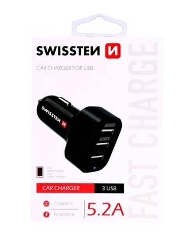 Autonabíjačka Swissten 3xUSB 5,2A, čierna