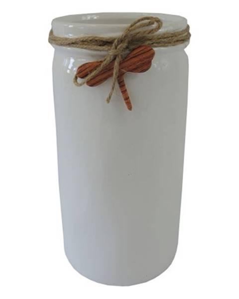 OKAY nábytok Keramická váza VK54 biela s vážkou