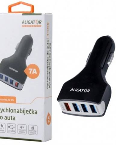Autonabíjačka Aligator 4xUSB 7A, Turbo charge 3.0, čierna