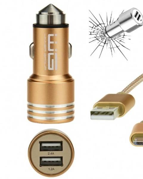 Winner Group Autonabíjačka WG 2xUSB 2,4A + kábel Micro USB, zlatá