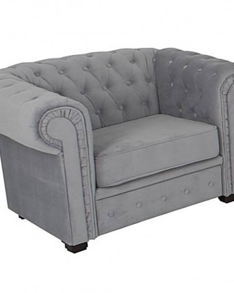 OKAY nábytok Kreslo Chesterfield sivá