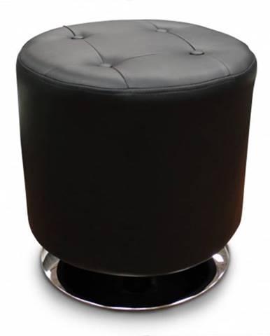 Kožená taburetka Dora kruh čierna