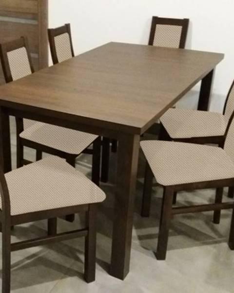 OKAY nábytok Jedálenský set Agáta - 6x stolička, 1x rozkladací stôl