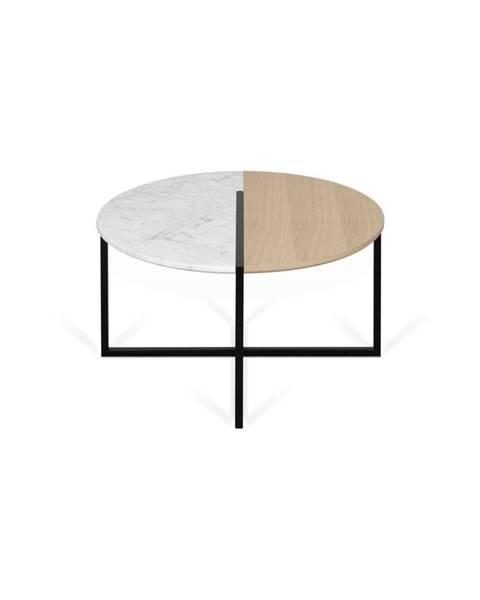 TemaHome Konferenčný stolík s doskou z dubového dreva a mramoru TemaHome Sonata, ø80cm