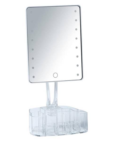 Wenko Biele kozmetické zrkadlo s LED podsvietením a organizérom na make-up Wenko Trenn