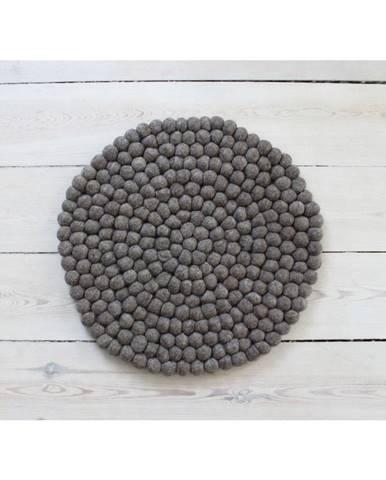 Orechovohnedý guľôčkový vlnený vankúš na sedenie Wooldot Ball Chair Pad, ⌀ 39 cm