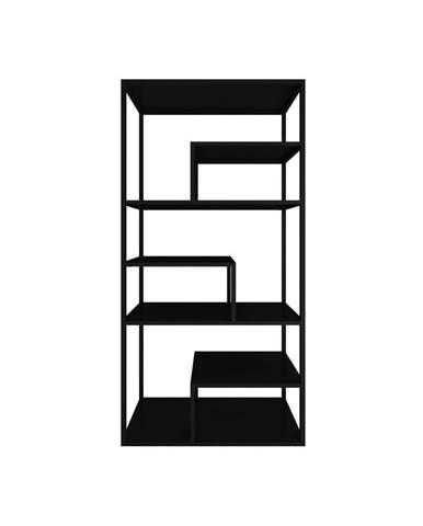 Čierny kovový regál Canett Lite, výška 188 cm
