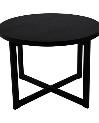Čierny odkladací stolík z dubového dreva Canett Elliot, ø 70 cm