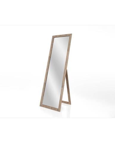Stojacie zrkadlo s hnedým rámom Styler Sicilia, 46 x 146 cm