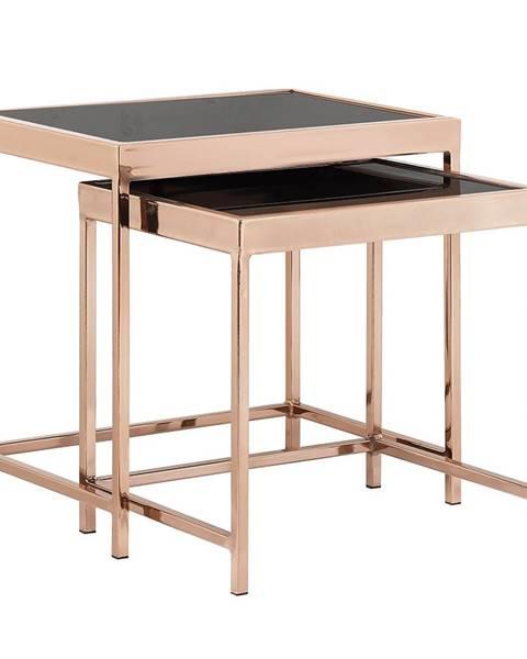Kondela Set 2 konferenčných stolíkov rose gold chróm ružová/čierna VITOR
