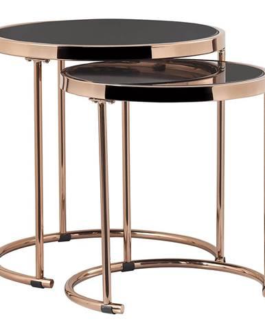 Set 2 konferenčných stolíkov rose gold chróm ružová/čierna MORINO