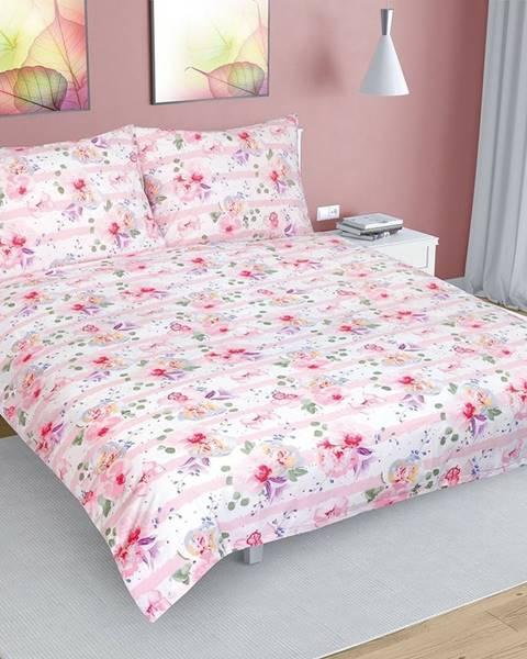 Bellatex Bellatex Bavlnené obliečky Kvet s pruhom ružová, 200 x 220 cm, 2 ks 70 x 90 cm