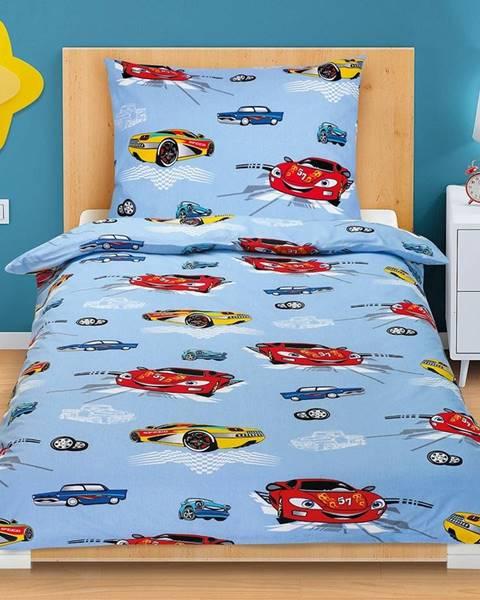Bellatex Bellatex Bavlnené obliečky Pretekárske autá, 140 x 200, 70 x 90 cm
