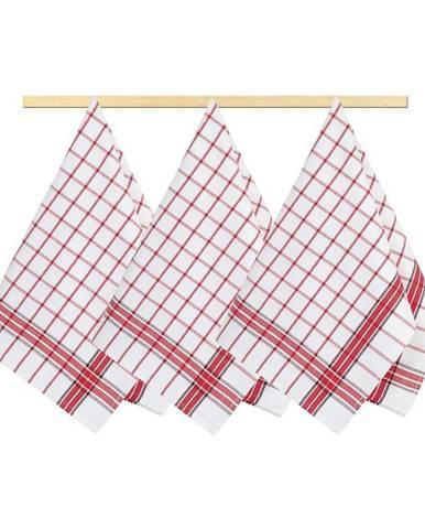 Bellatex Kuchynská utierka Kocka červená, 50 x 70 cm, sada 3 ks