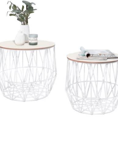Tempo Kondela Set príručných stolíkov, prírodná/biela, DALUX